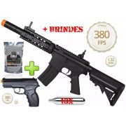 Kit Commando Rifle Bivolt Airsoft Cyma M4a1 Cm513 + Pistola CO2 Airsoft C11 + 4000 BBs