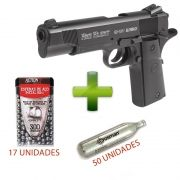 Pistola Airgun RD 1911 Blowback + 50 Cilindros CO2 + 17 Esferas de aço