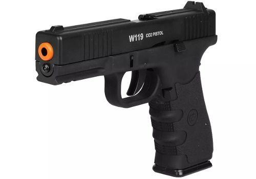 Pistola Airsoft Co2 Pressão Win Gun W119 Metal 6mm Blowback