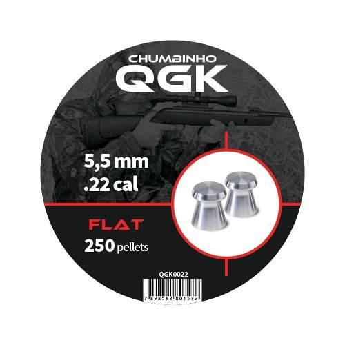 Chumbinho Qgk 5,5 Mm Flat 250 Pellets/pote