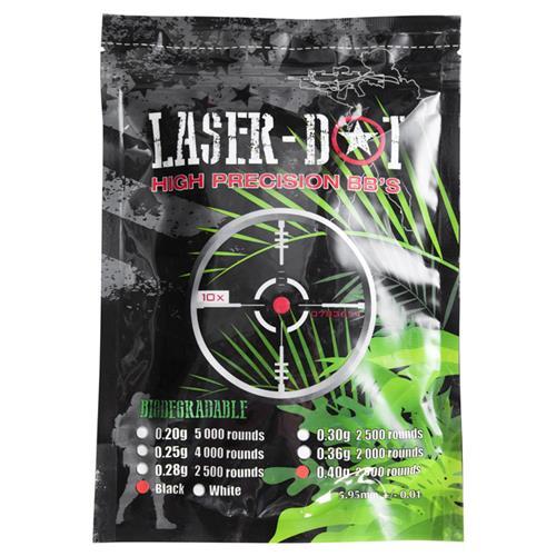 Esferas Plástica BBs Laser-Dot Biodegradável Preta Munição .40g para Airsoft 6mm - 2000un