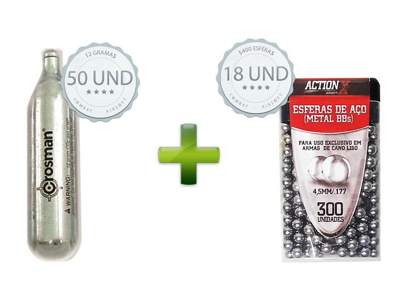Kit para Airgun 50 Cilindros CO2 + 18 Esferas de aço