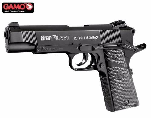 Pistola Airgun RD 1911 Blowback + 50 Cilindros CO2 + 17 Esferas de aço