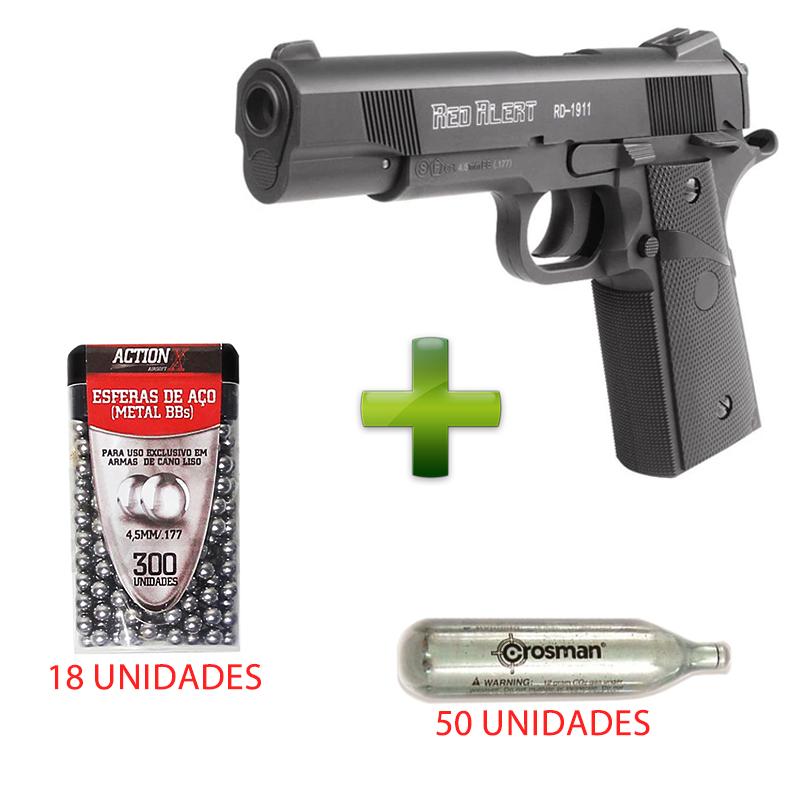 Pistola De Pressão 4,5mm RD 1911 CO2 + 50 Cilindros + 18 Esferas