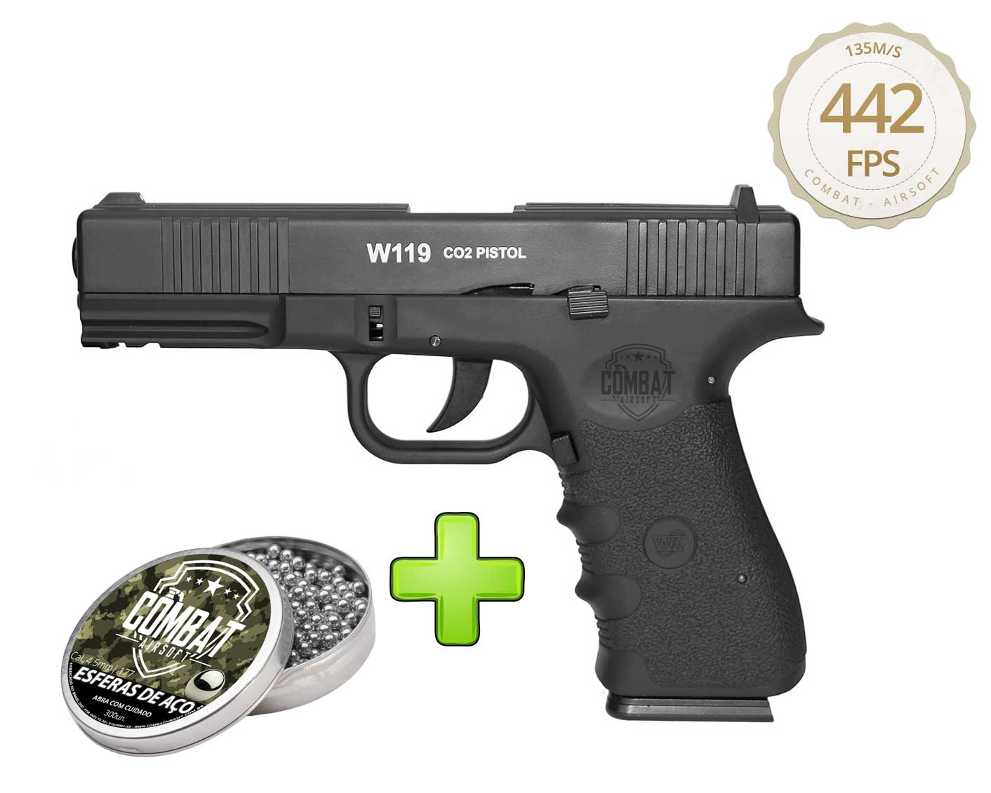 Pistola Pressão Gas Co2 Glock W119 Slide Metal Blowback 4,5mm