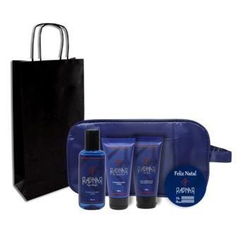 Combo 1 - Natal - Shampoo para Cabelo e Barba 140 ml + Pomada para Cabelo e Barba 100 g + Balm Multifuncional para Barba e Rosto 100 g + Necessaire e Sacola Grátis