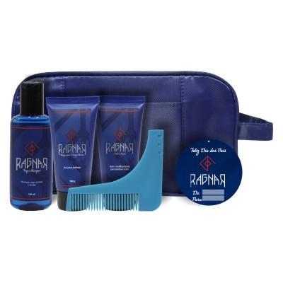 Combo 2 - Dia dos Pais - Shampoo para Cabelo e Barba 140 ml + Gel para Barbear 100 g + Balm Multifuncional para Barba e Rosto 100 g + Pente Alinhador + Necessaire Grátis