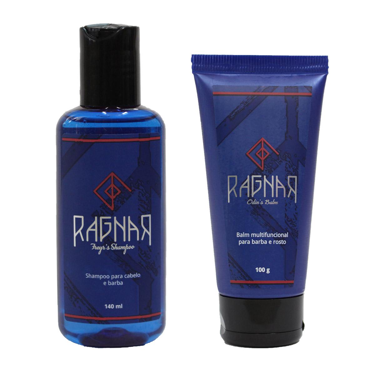 Shampoo para Cabelo e Barba 140 ml (Freyr's Shampoo) + Balm Multifuncional para Barba e Rosto 100 g (Odin's Balm)