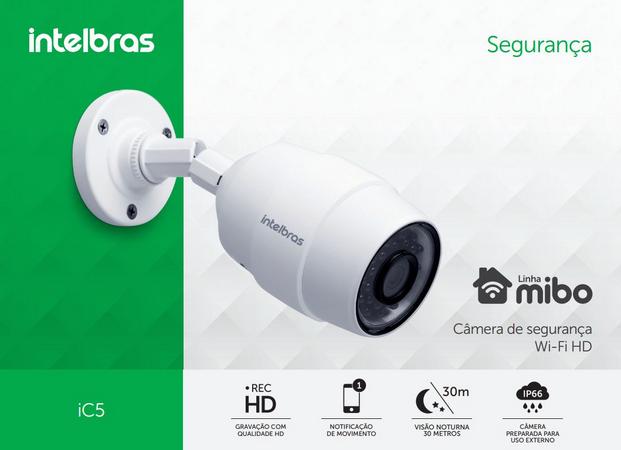 Camera de Segurança Wi-Fi HD iC5 Intelbras