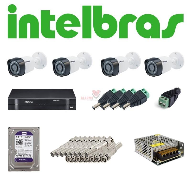Kit 4 Cameras Segurança 1080p Full Hd Dvr Intelbras