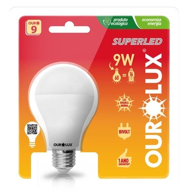 Lâmpada Ourolux 9w led 2700k bc morna