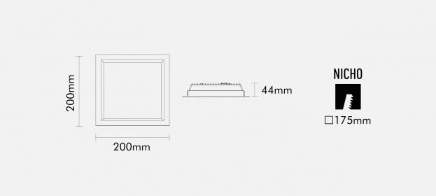 Luminária Led Interlight IN01-WW(3000k)20x20cm
