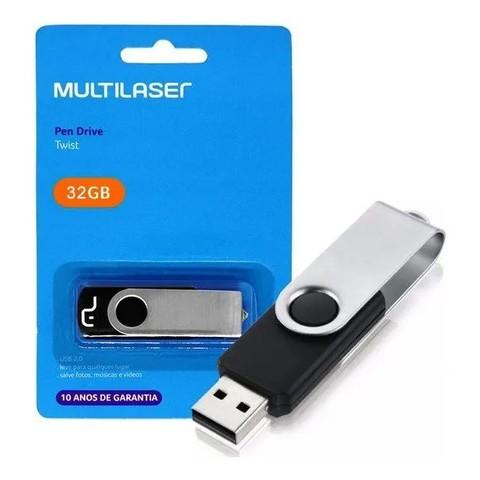 Pen Drive 32gb USB 2.0 Twist preto PD589 Multilaser