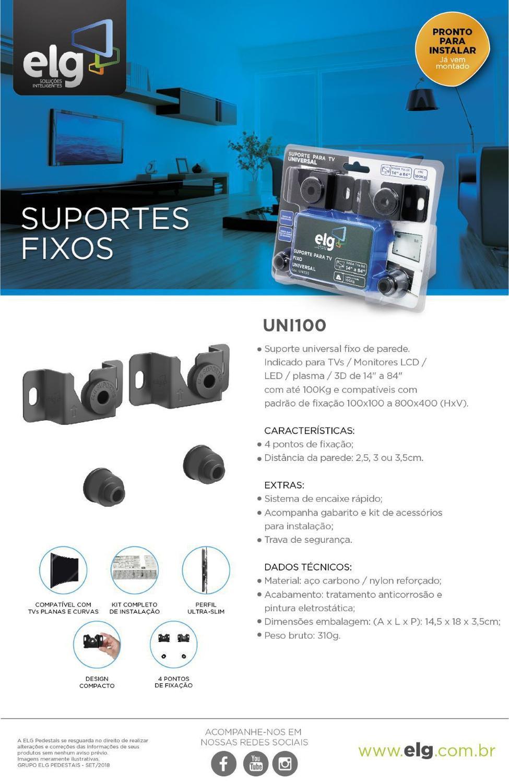 Suporte Fixo Universal Elg Uni100 Tv De 14 A 84 Lcd Led