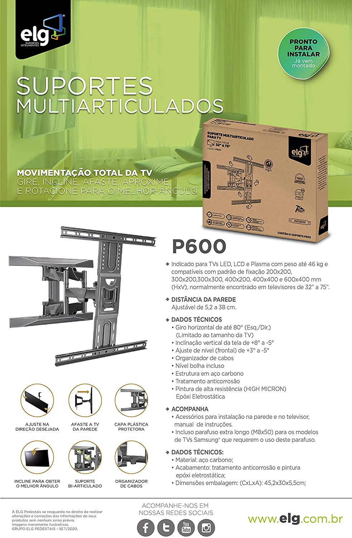 Suporte Multiarticulado de Parede para Tvs Led Lcd P600