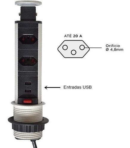 Torre 3 Tomadas Multiplug Retrátil Embutir RENNA