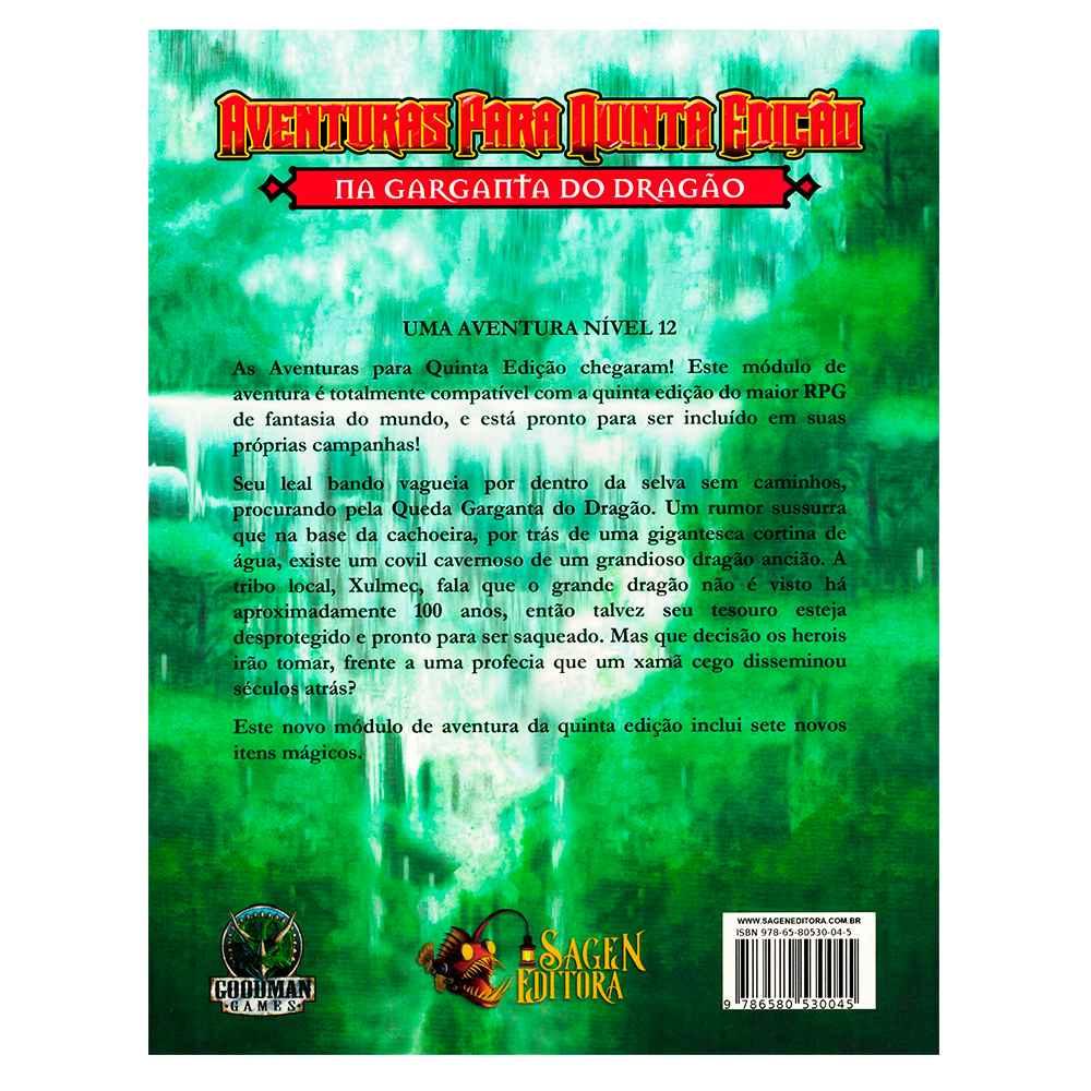Aventuras para Quinta Edição Na Garganta do Dragão 5 - Dungeons Dragons