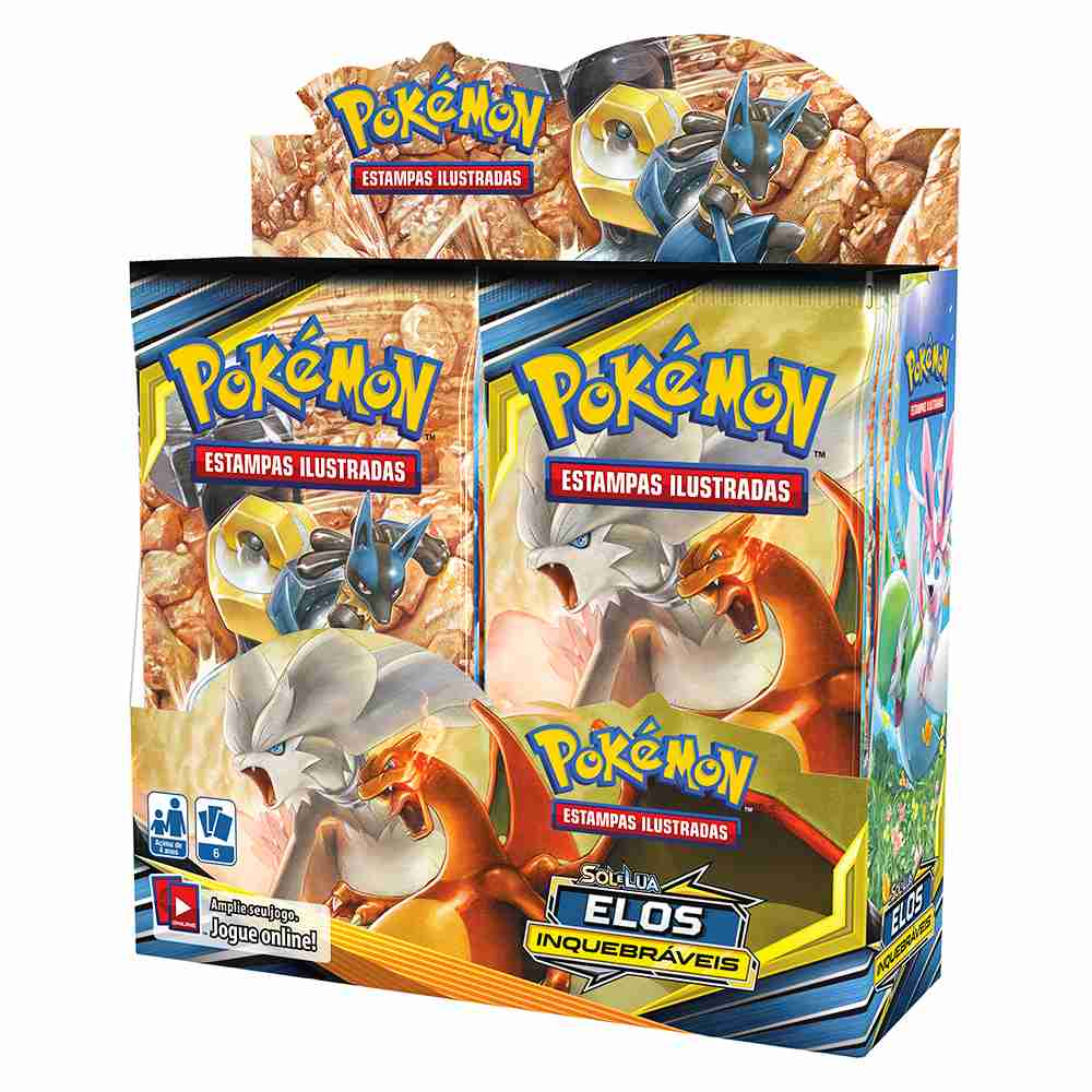 Box Display Pokemon Booster Sol e Lua 10 Elos Inquebráveis