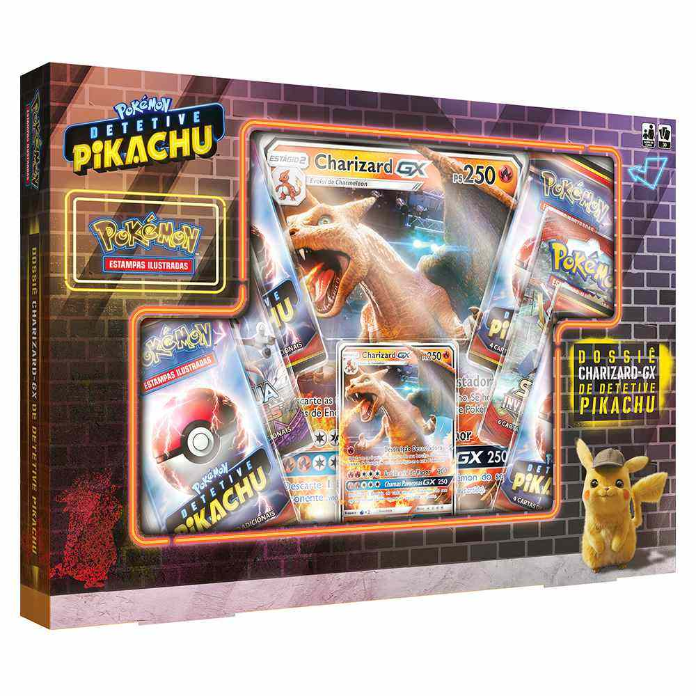 Box Pokemon Charizard Gx Detetive Pikachu Dossie