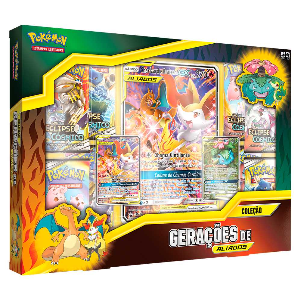 Box Pokemon Geração de Aliados Charizard e Braixen GX