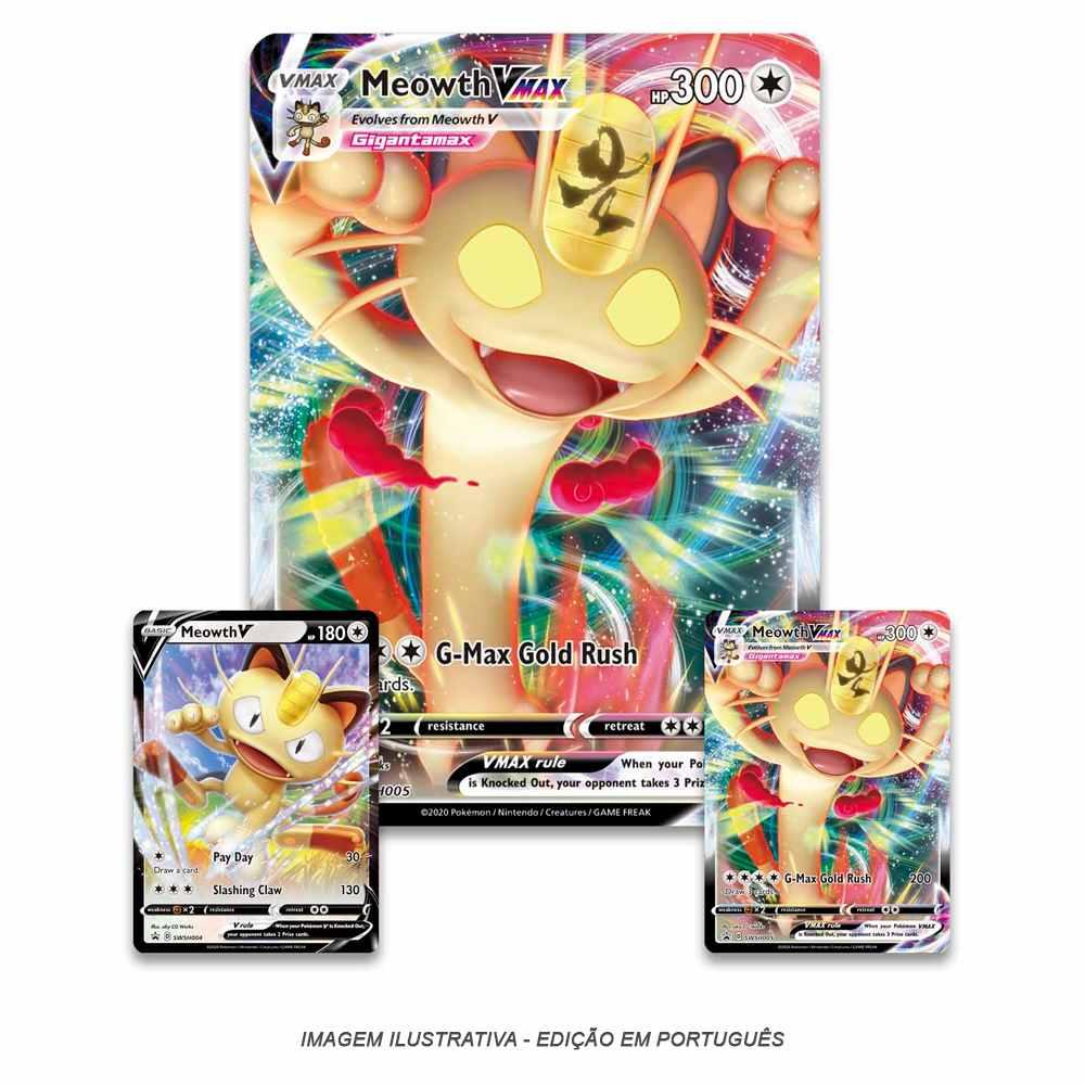 Box Pokemon Meowth Vmax Coleção Especial