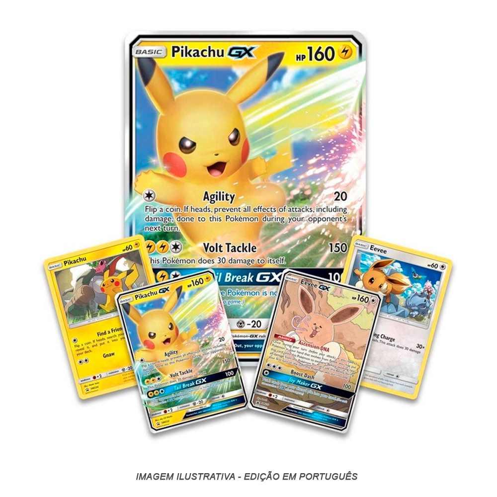 Box Pokemon Pikachu Gx e Eevee Gx Coleção Especial