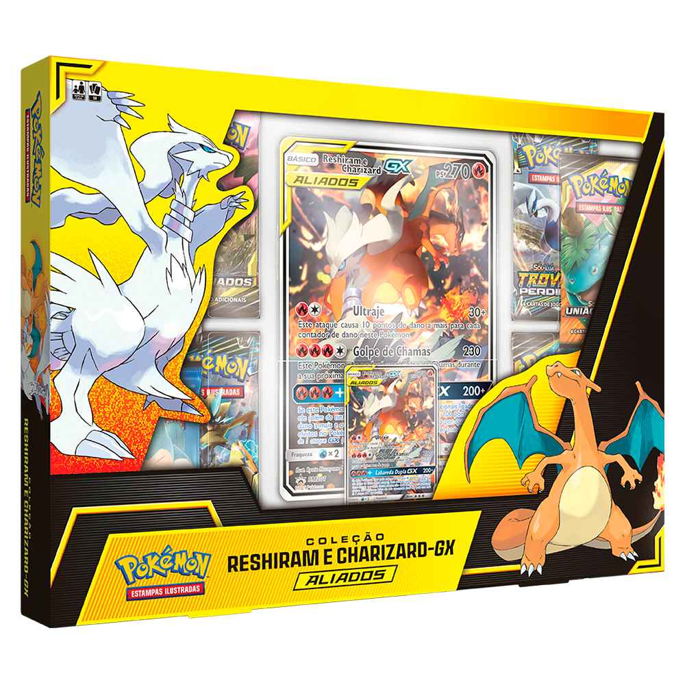 Box Pokemon Reshiram e Charizard GX Aliados