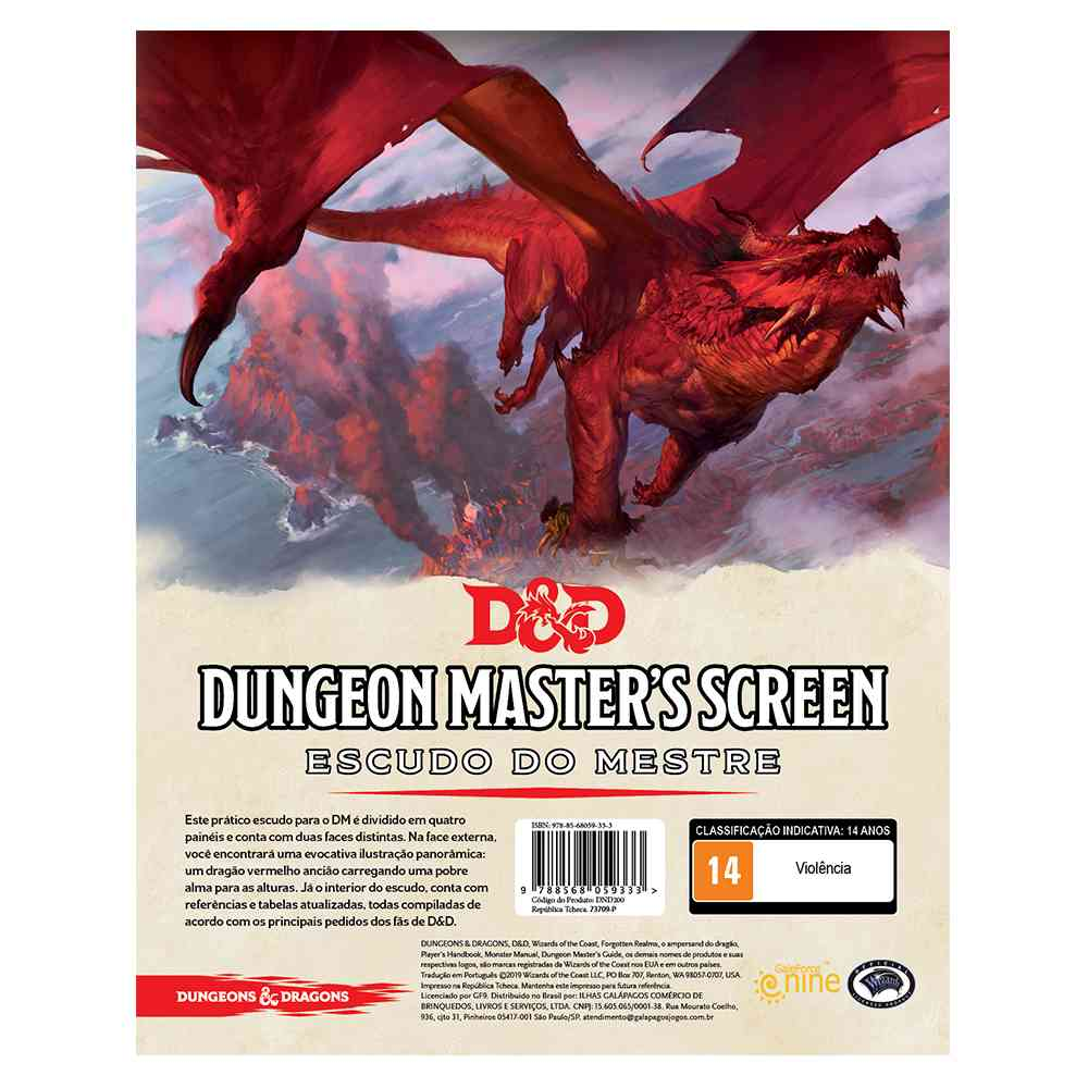 Dungeon Dragons Masters Screen - Escudo do Mestre