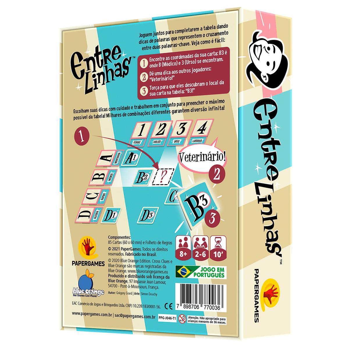 Entre Linhas Jogo de Cartas Paper Games