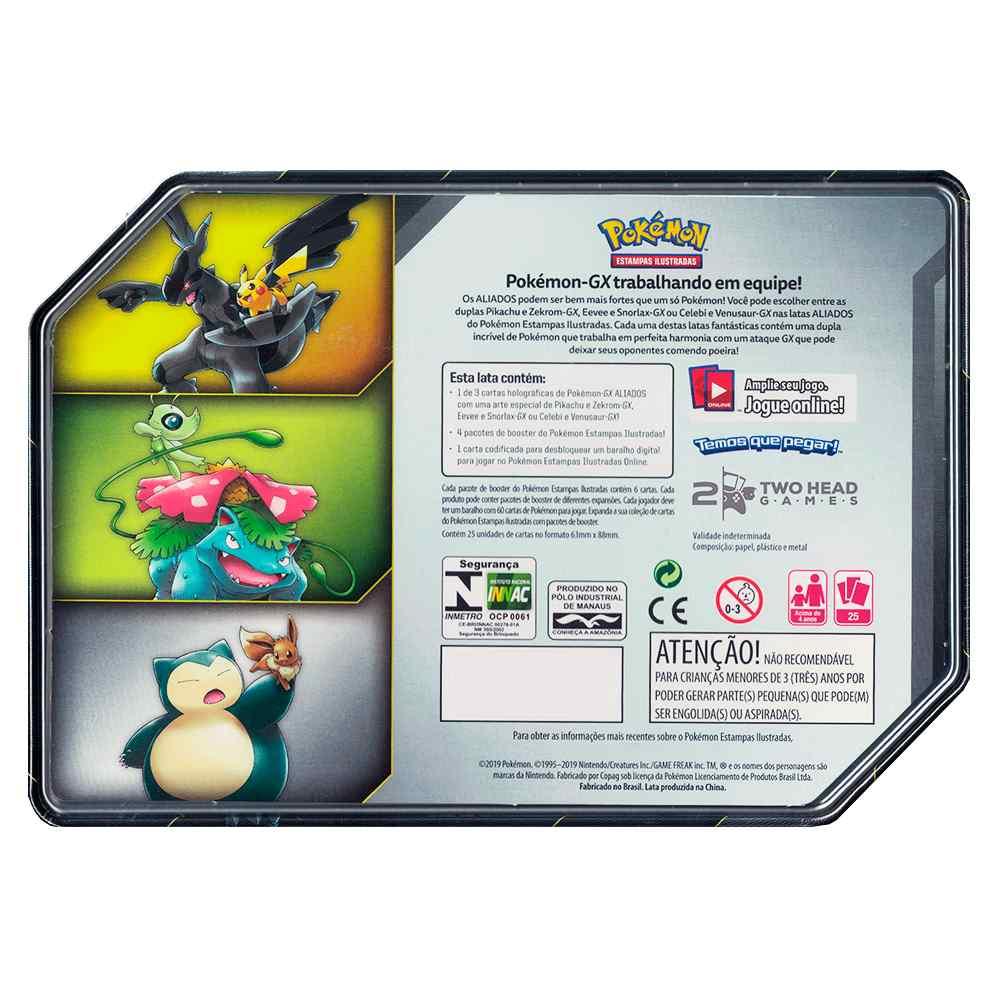 Lata Pokemon Aliados Gx Eevee e Snorlax