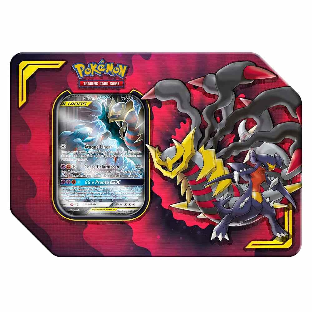 Lata Pokemon Garchomp e Giratina-GX Parceria Poderosa