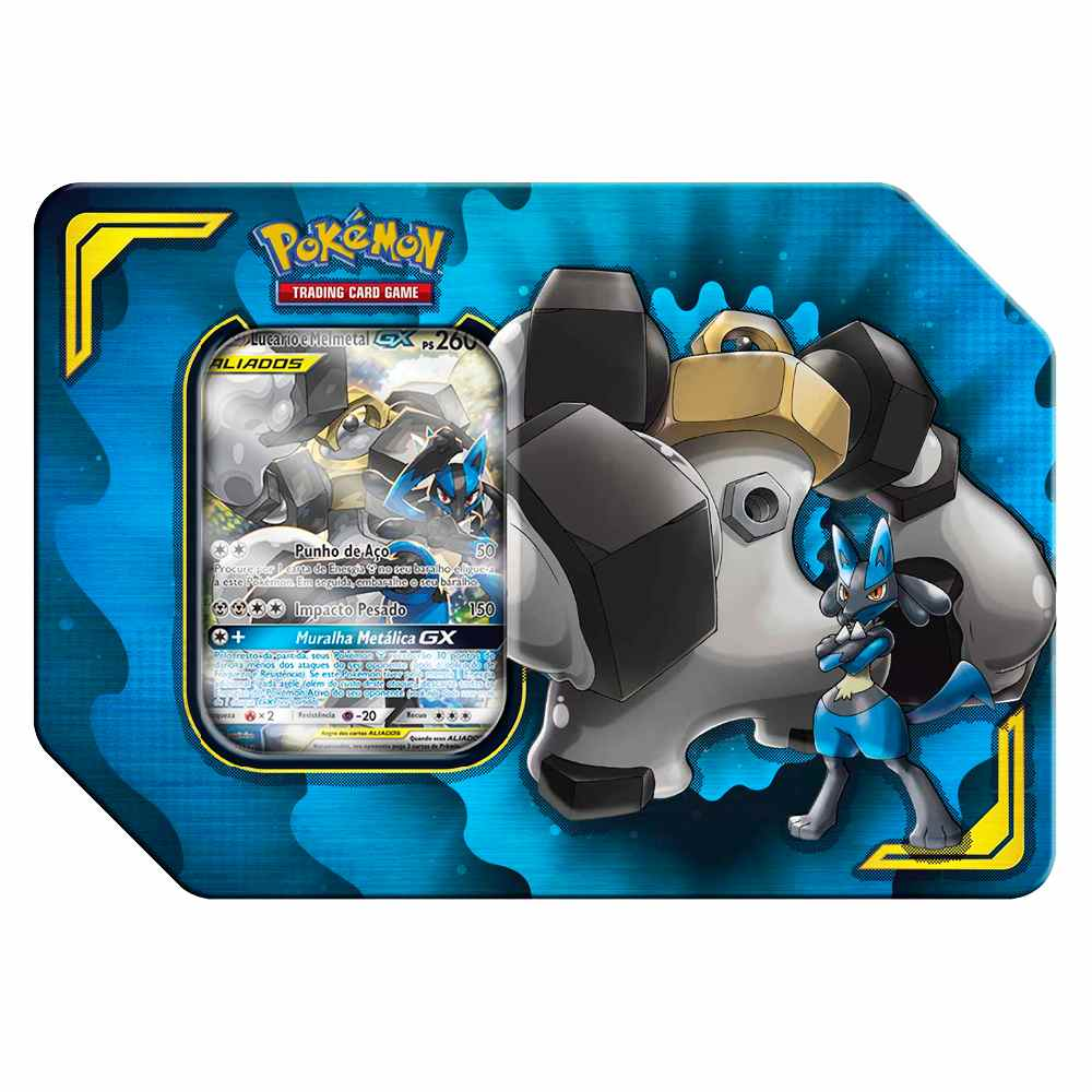 Lata Pokemon Lucario e Melmetal-GX Parceria Poderosa