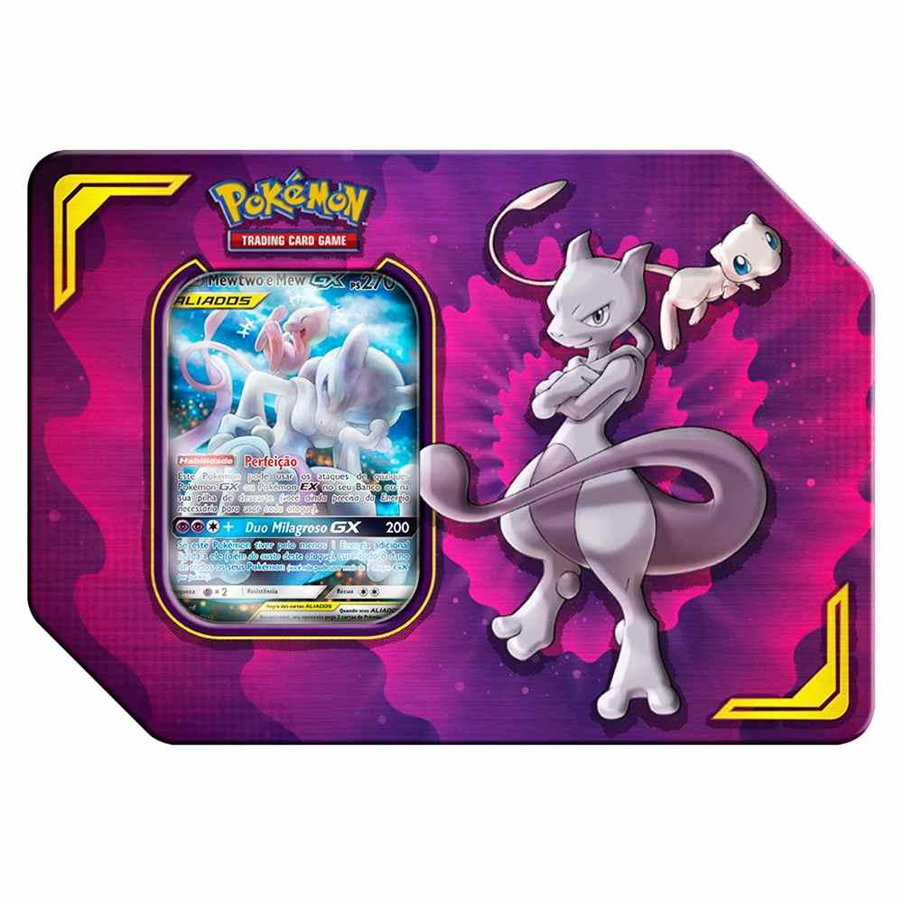 Lata Pokemon Mewtwo e Mew GX Parceria Poderosa