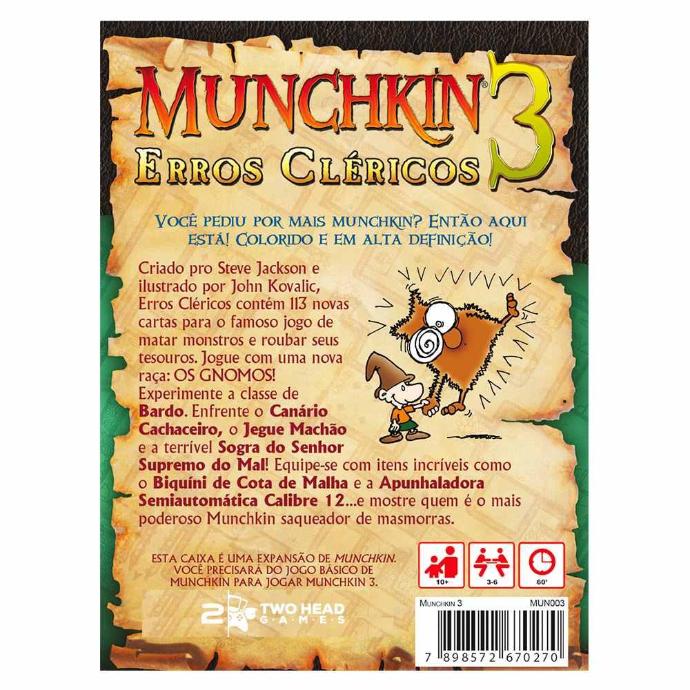 Munchkin 3 Erros Cléricos Expansão Jogo de Cartas