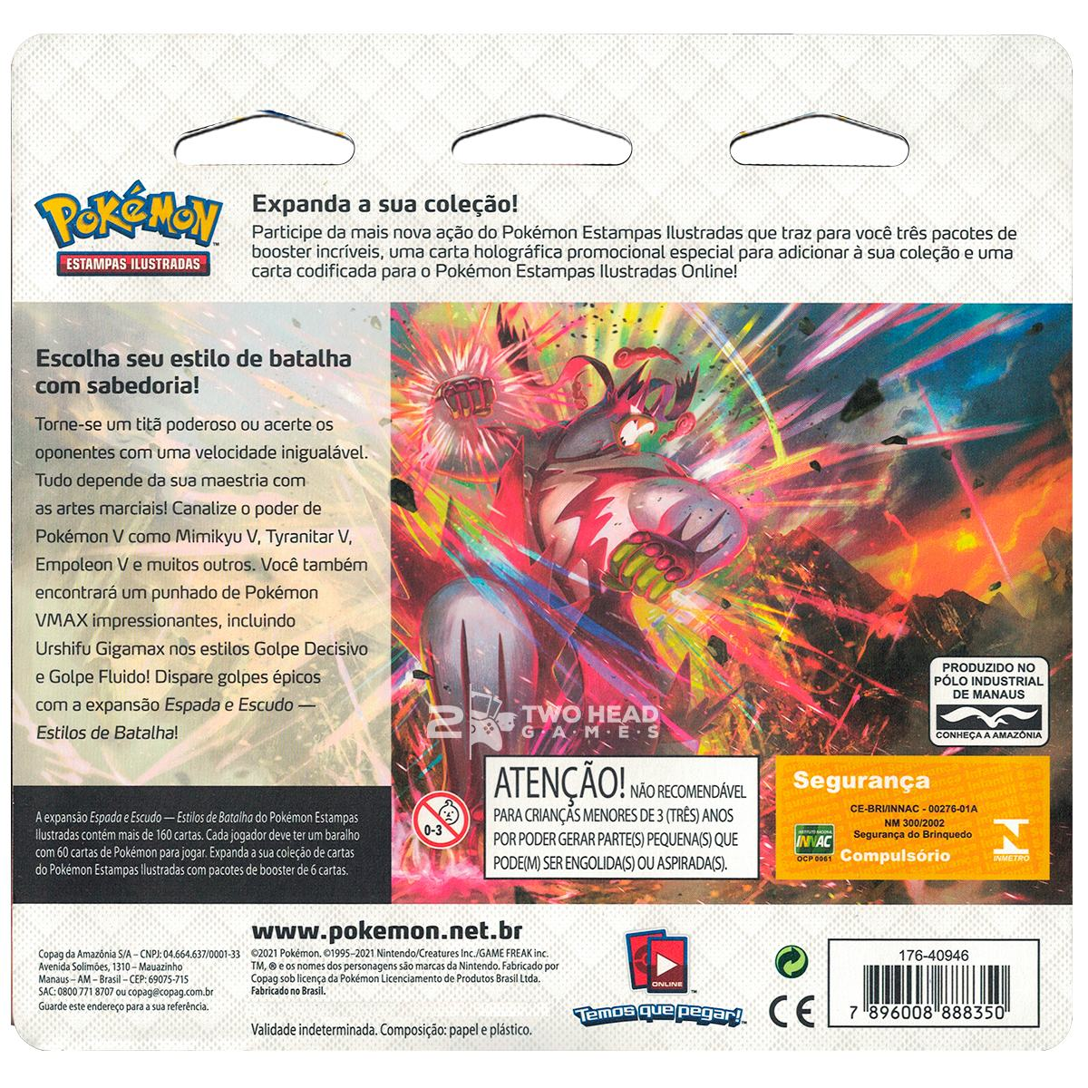 Pokemon Blister Triplo Espada e Escudo 5 Estilos de Batalhas Arrokuda