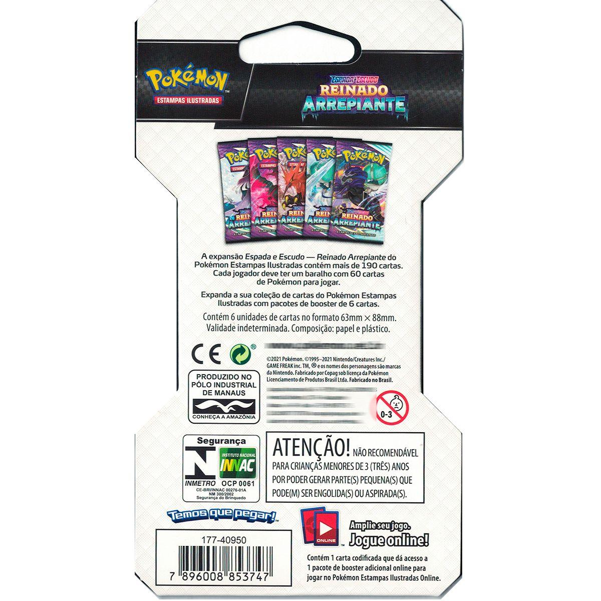 Pokemon Blister Unitário Booster Espada e Escudo 6 Reinado Arrepiante