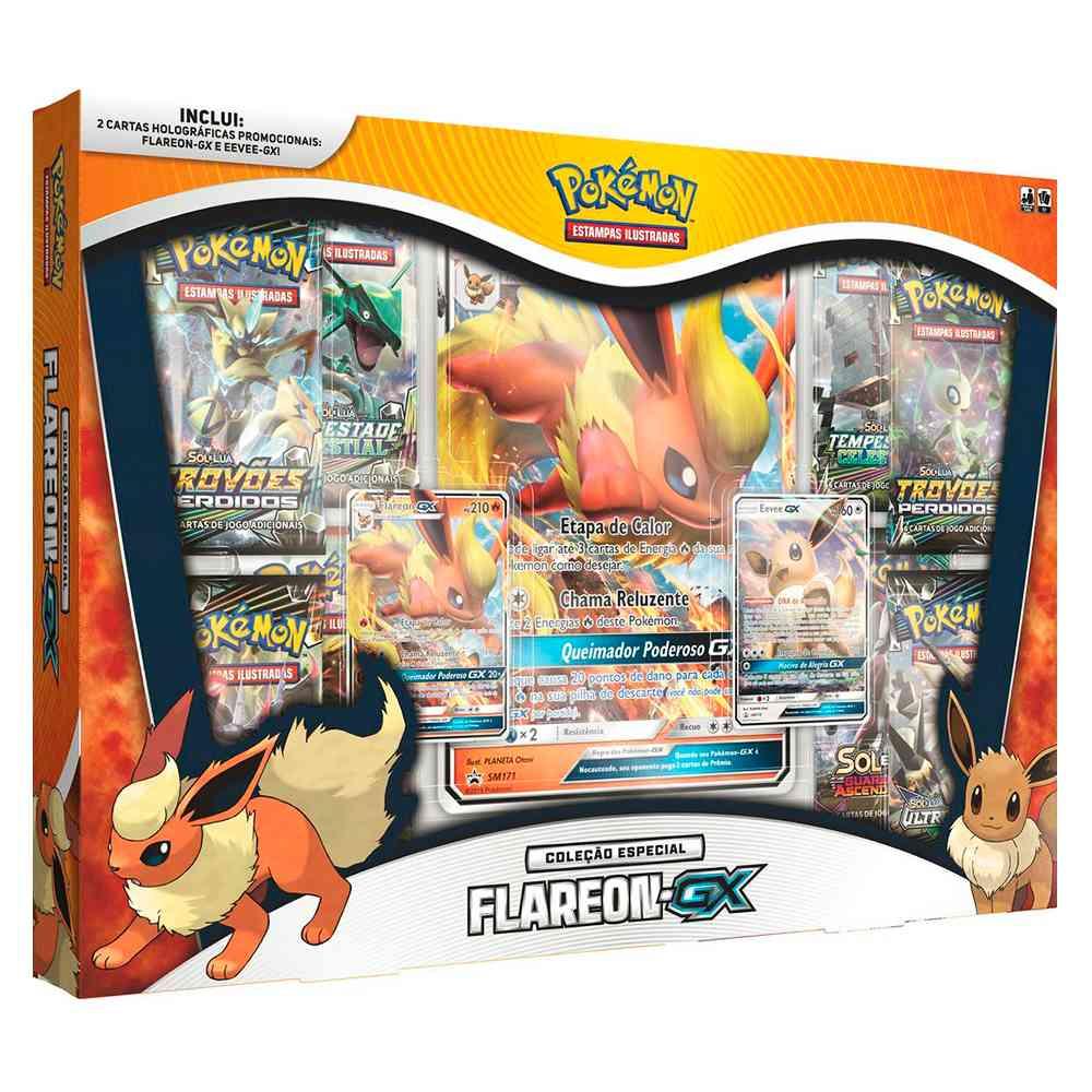 Pokemon Box Flareon GX Coleção Especial Eevee