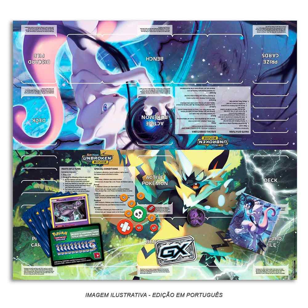 Starter Deck Pokemon Mewtwo Sol e Lua 10 Elos Inquebráveis
