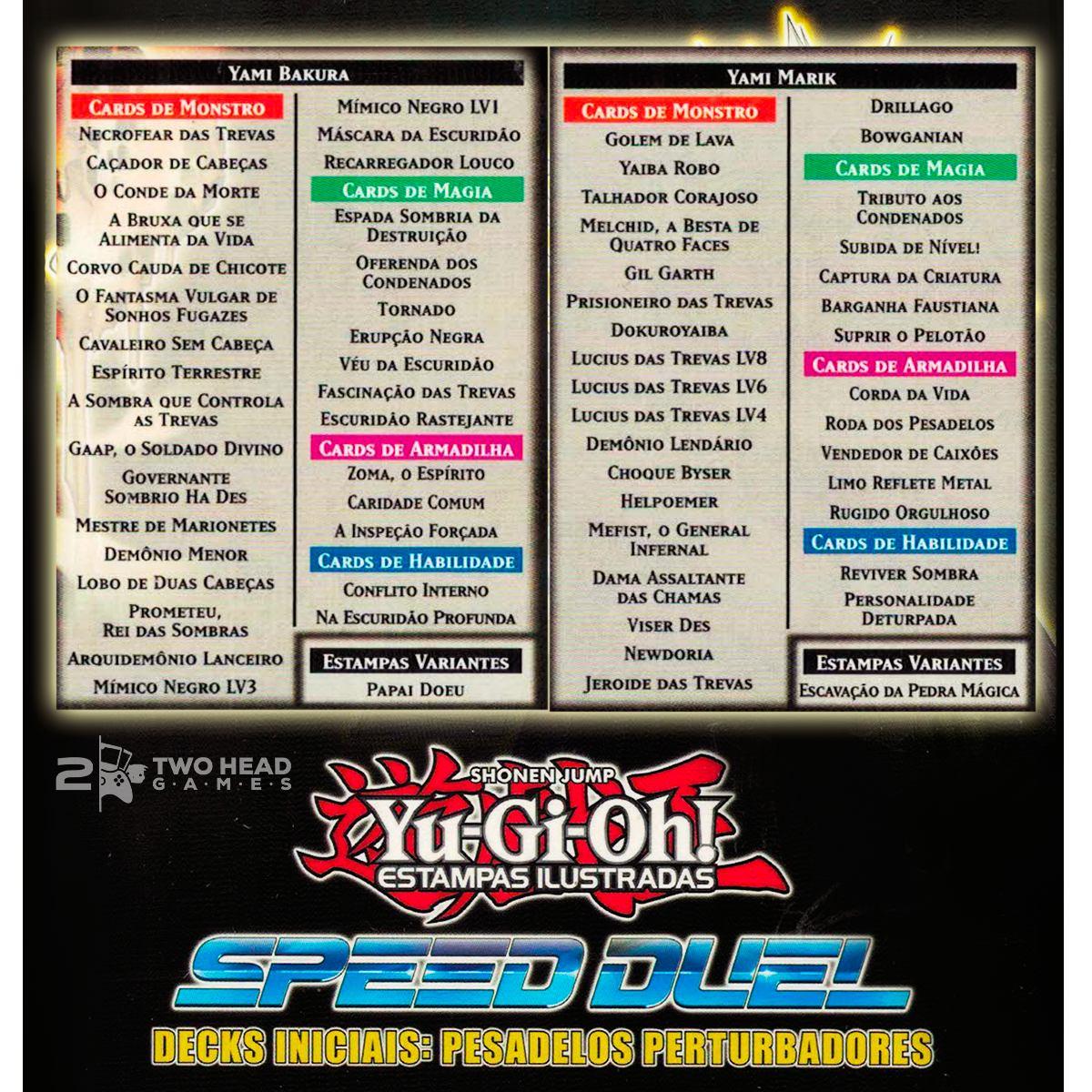 Yugioh Deck Inicial Marik E Bakura Pesadelos Perturbadores Speed Duel