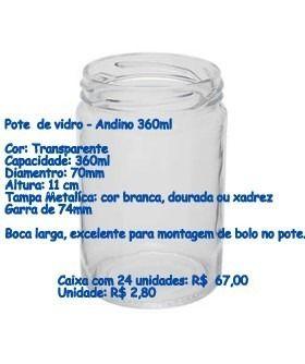 Potes De Vidro Boca Larga Andino 360ml Para Salada C Tampa