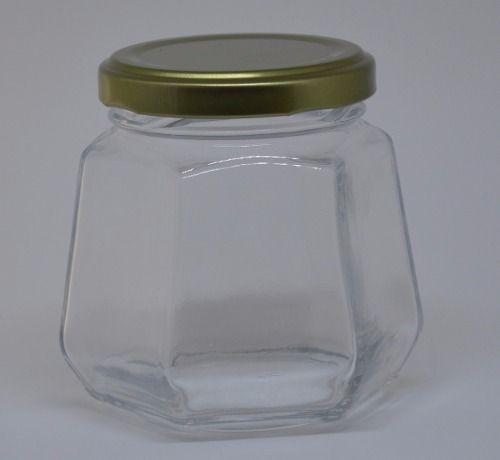 Pote Vidro Sextavado 230ml C/tampa Metal Branca - Cx72 Unid