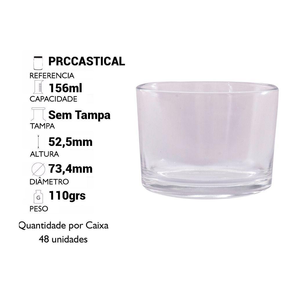 POTE DE VIDRO 156ML CASTIÇAL/PORTA VELAS - CX C/ 48 UN