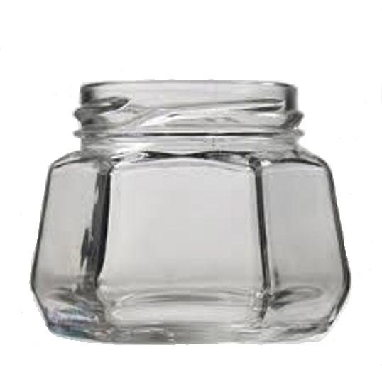 Pote de Vidro Sextavado 170ml - Caixa com 24 unidades