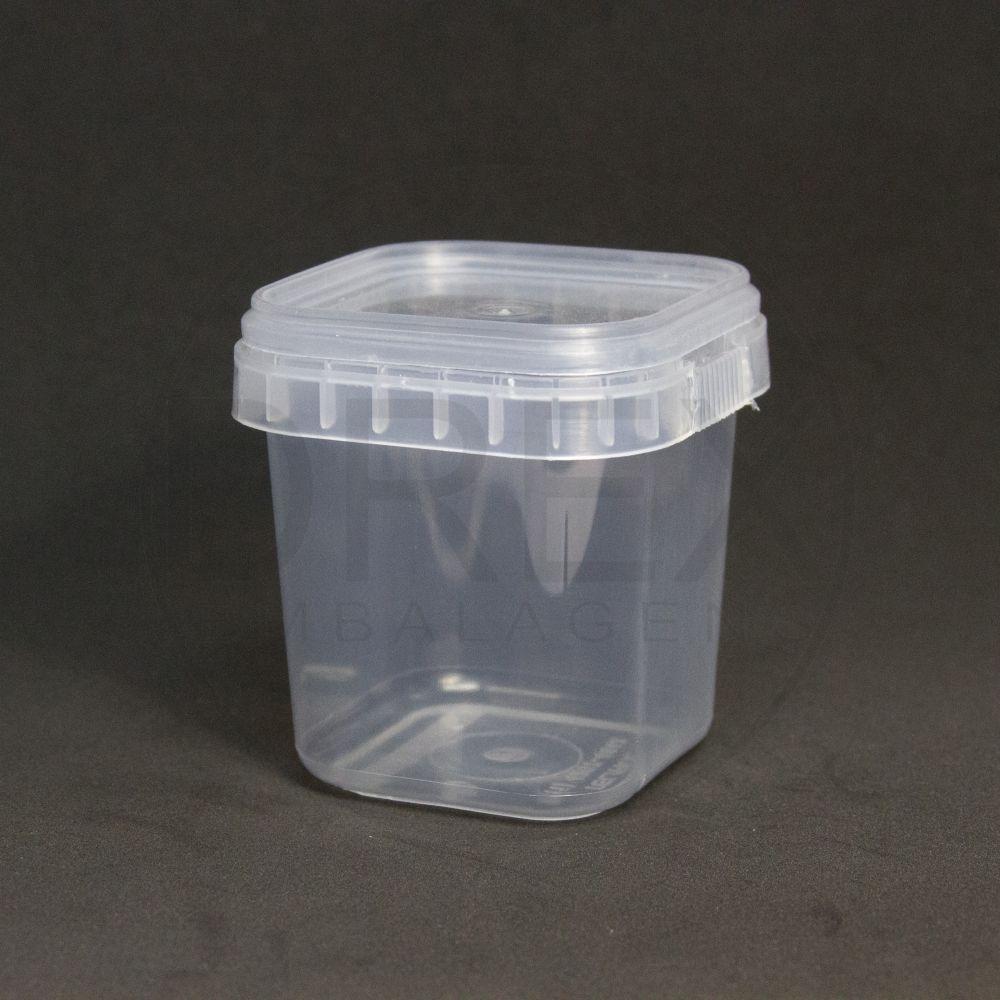 Pote Quadrado de Plástico 220ml com Tampa Caixa com 100 Unidades