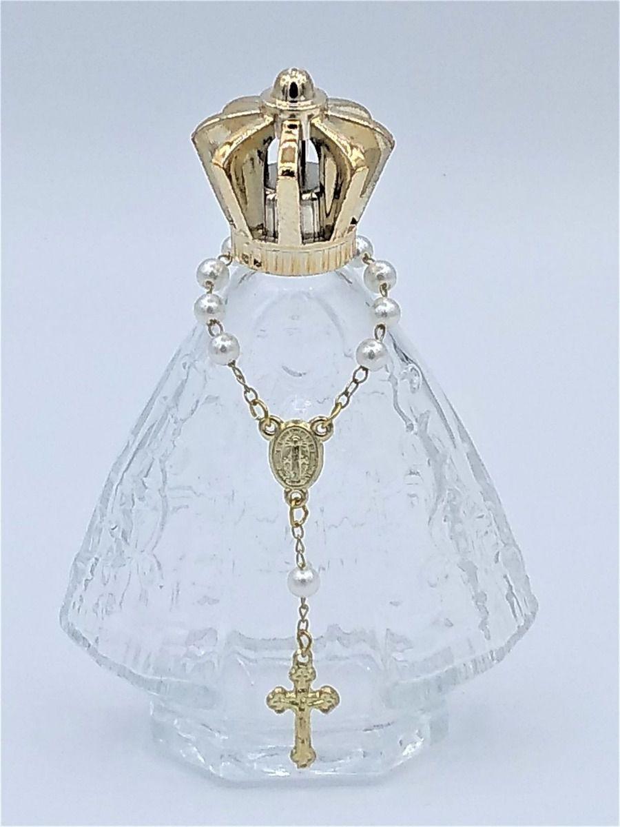 Vidro Nossa Senhora Aparecida 60ml C/Tercinho e Coroa Metalizada Dourada - Kit com 12 Un