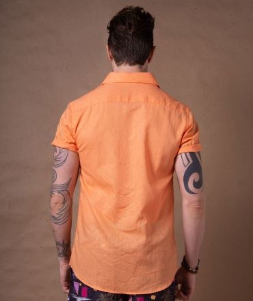 Camisa Cambraia de Linho Laranja Manga Curta