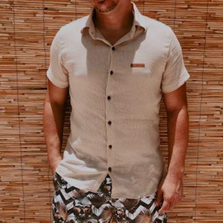 Camisa Naturale Areia Botão Manga Curta