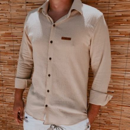 Camisa Naturale Areia Botão Manga longa