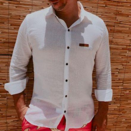 Camisa Naturale Branca Botão Manga Longa