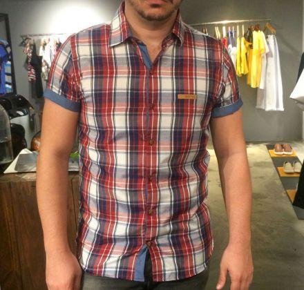 Camisa Xadrez Manga Curta Branco, Vinho e Azul
